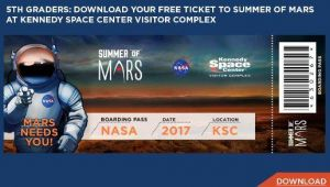 Free Admission for Incoming 5th Graders: Kennedy Space Center