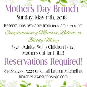 05/13 Mother's Day Brunch at Westchase Golf Club