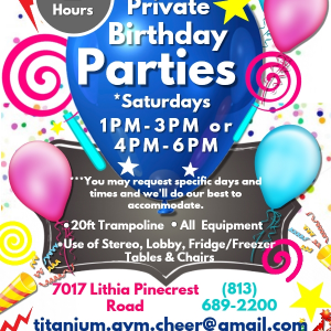 Titanium Gymnastics and Cheerleading Birthday Parties